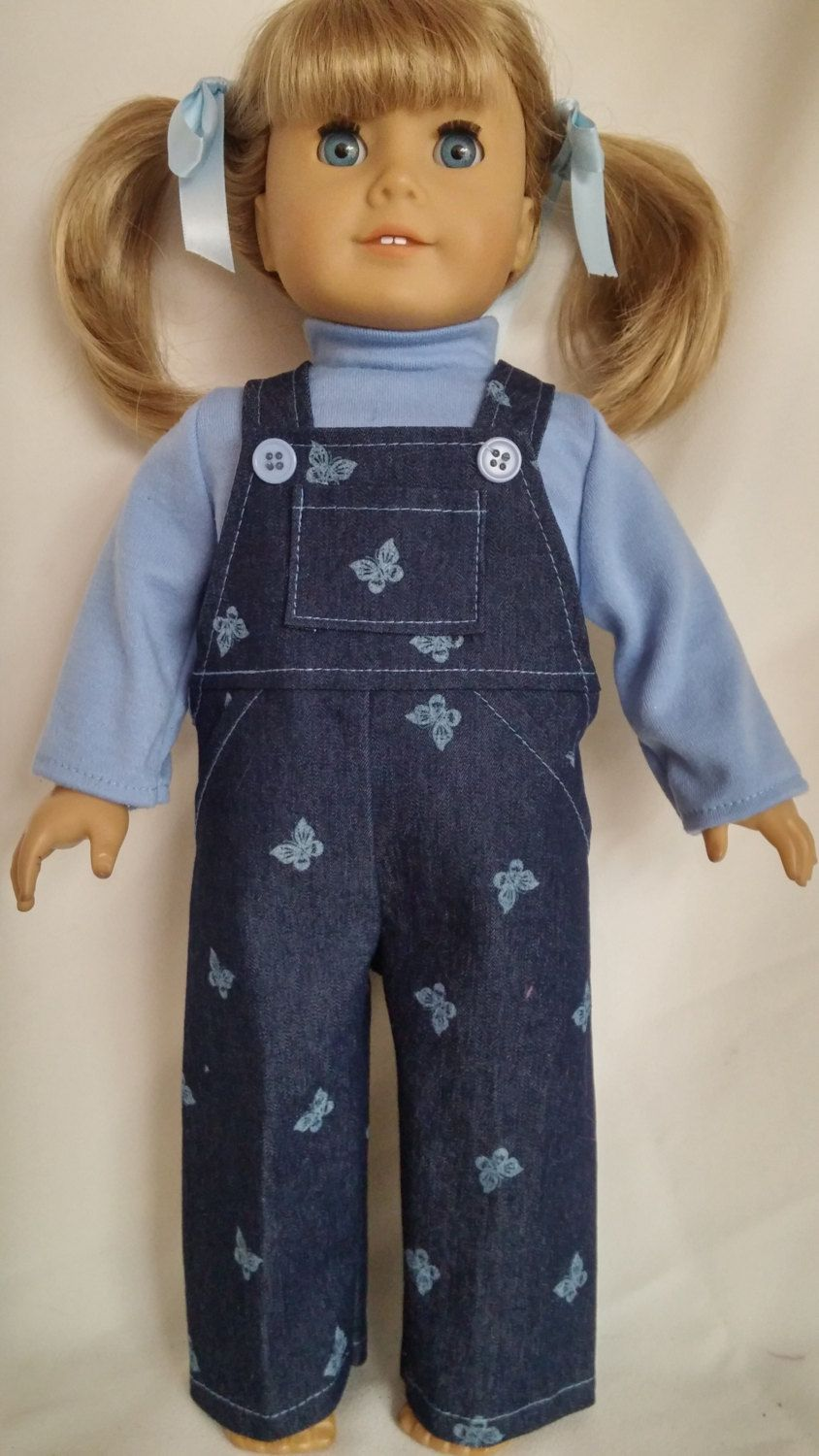 18 inch doll clothes - #606 - Butterfly Bibs and Turtleneck made to fit American Girl Doll by susiestitchit on Etsy