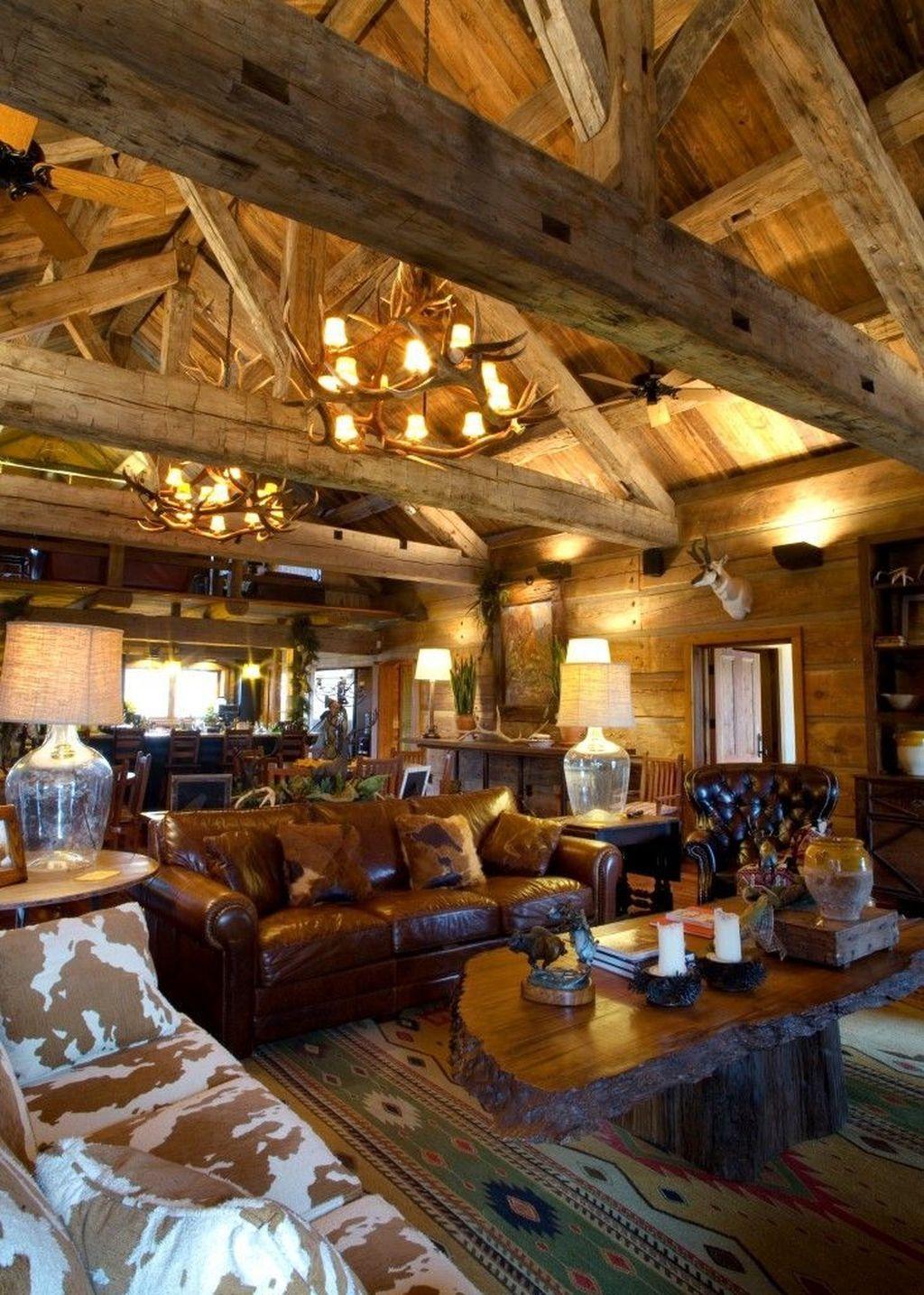 30+ Inspiring Lodge Living Room Décor Ideas - TRENDHMDCR ...