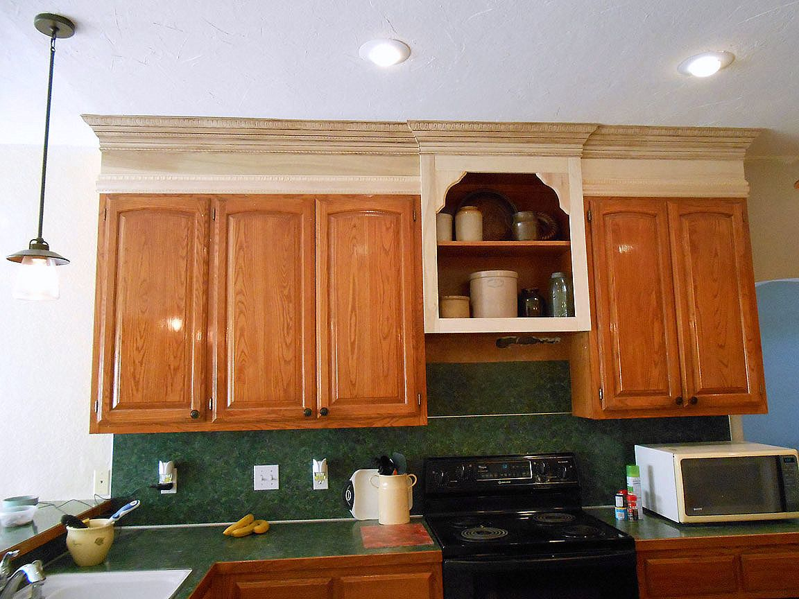 Project Making An Upper Wall Cabinet Taller Kitchen  Moulding Adorable Upper Kitchen Cabinets Review