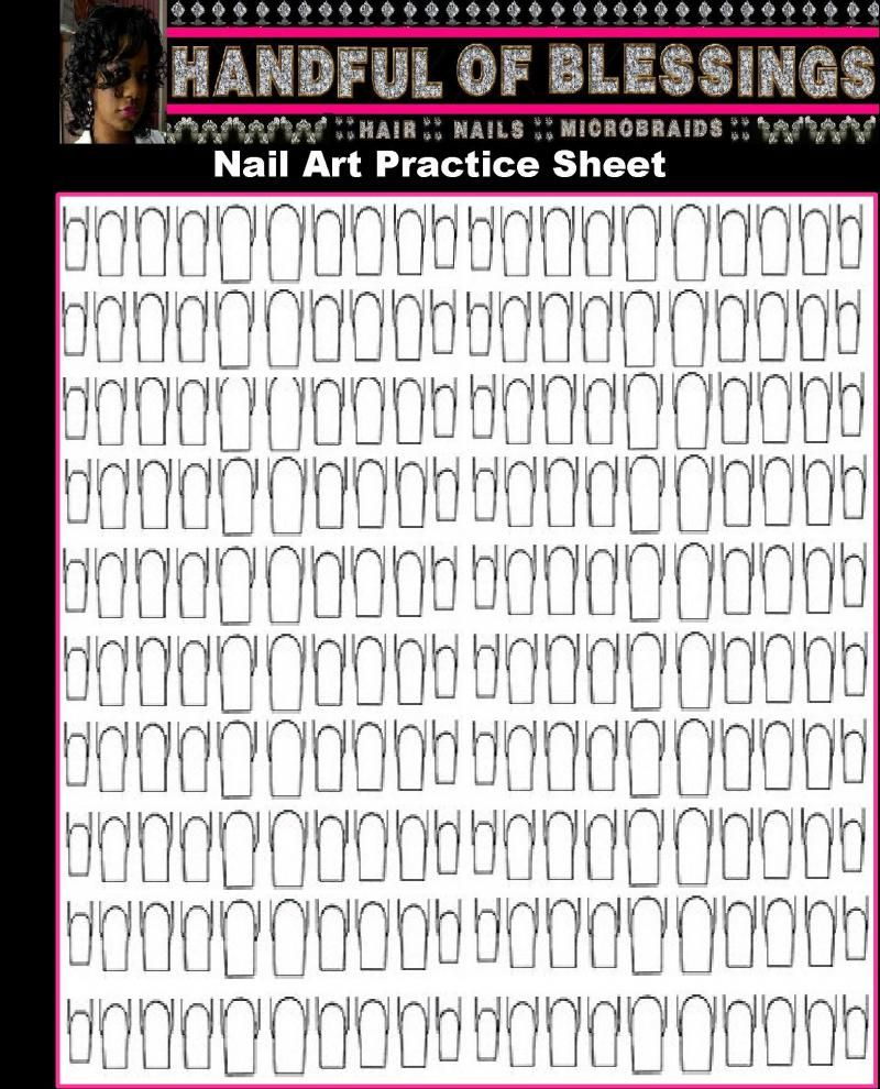 A Handful Of Blessings Printable Nail Art Practice Sheet Left