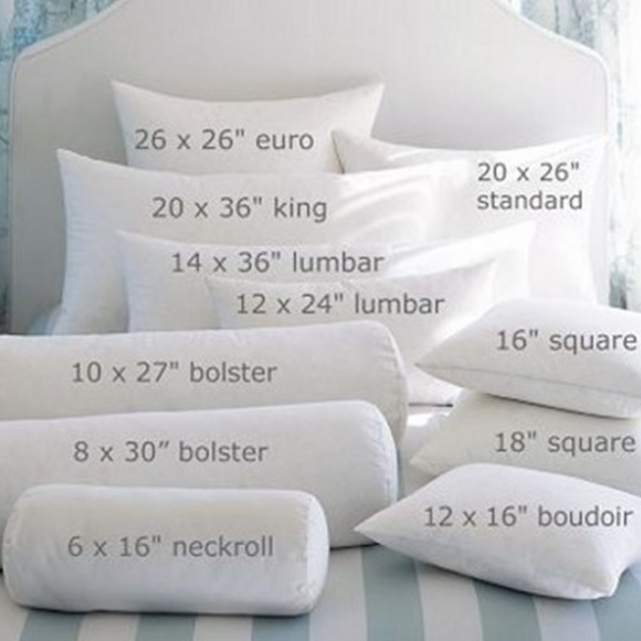 accent pillows shapes sizes and names