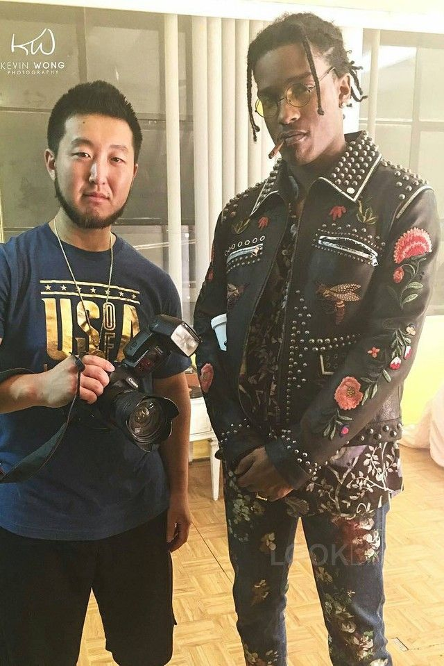 a97b38ce4762 ASAP Rocky wearing Gucci Studded Leather Bomber Jacket, Gucci Painted  Cropped Denim Pants