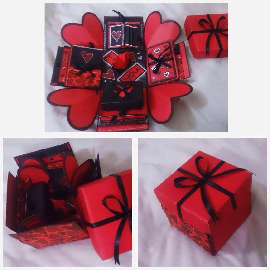 DIY explosion box. Red, Black. Love theme. (With images