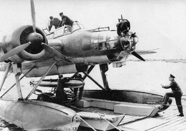 Ku-88 German Bomer loading a Torpedo