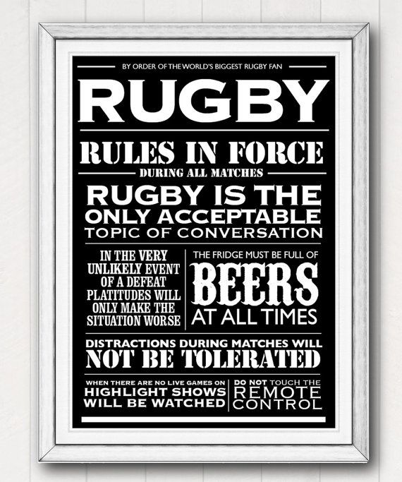 Poster Rugby House Rules Typographic Printable Father S