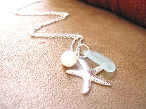 Sea Glass Starfish Necklace