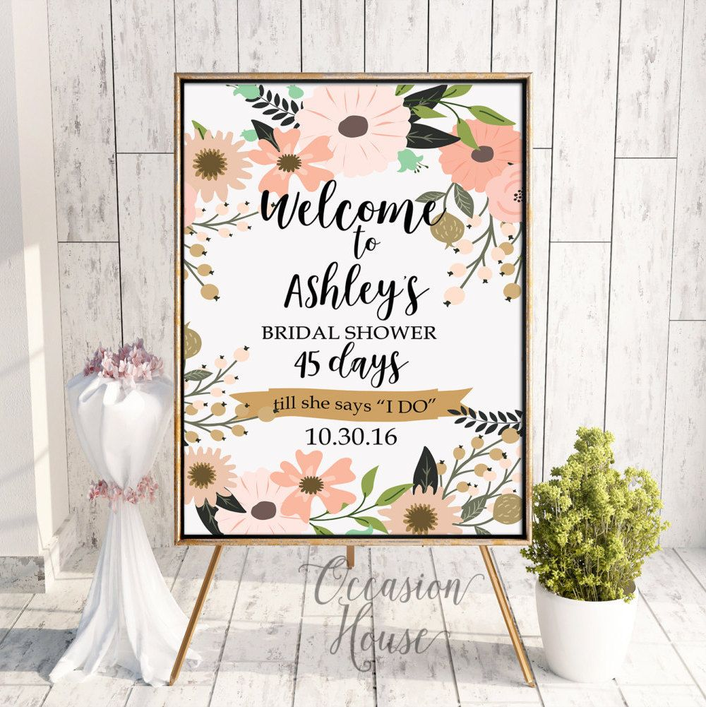 Countdown Welcome bridal shower sign bride and co PDF Printable JPG