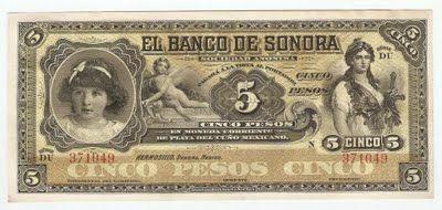 Mexico paper money bills Billete $5 pesos el Banco De Sonora