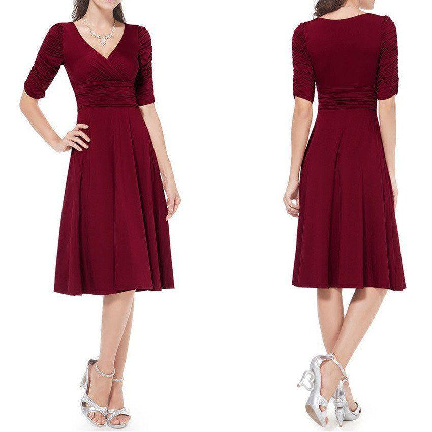 V-neck Ruched Empire Half Sleeves Knee-length A-line Dress