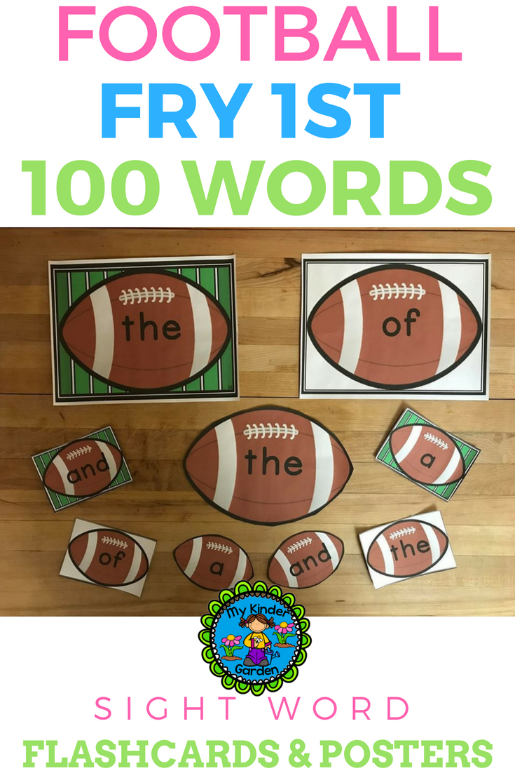 Football Fry 1st 100 Words High Frequency Sight Word Flashcards and ...