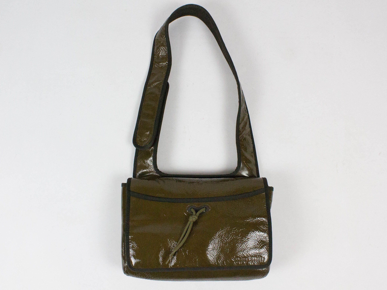 f6c5431b6a4b Miu Miu Bag, Vintage Cross Body, Green Color, 1998 a/w, Patent Leather,  Sport Sryle, Rectangular Shape, 1990s Authentic, Flap Bag, Pocket by  MyLoftVintage ...