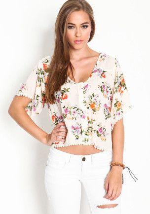 BUTTON FLORAL CROP TOP | Shop Trendy, Unique Cute Clothes & Accessories | ModMint