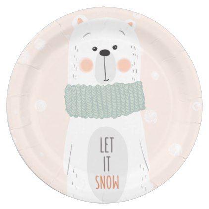 Christmas paper plates · Polar bear ...  sc 1 st  Pinterest & Polar bear - Let it snow - Cute Winter / Christmas Paper Plate ...