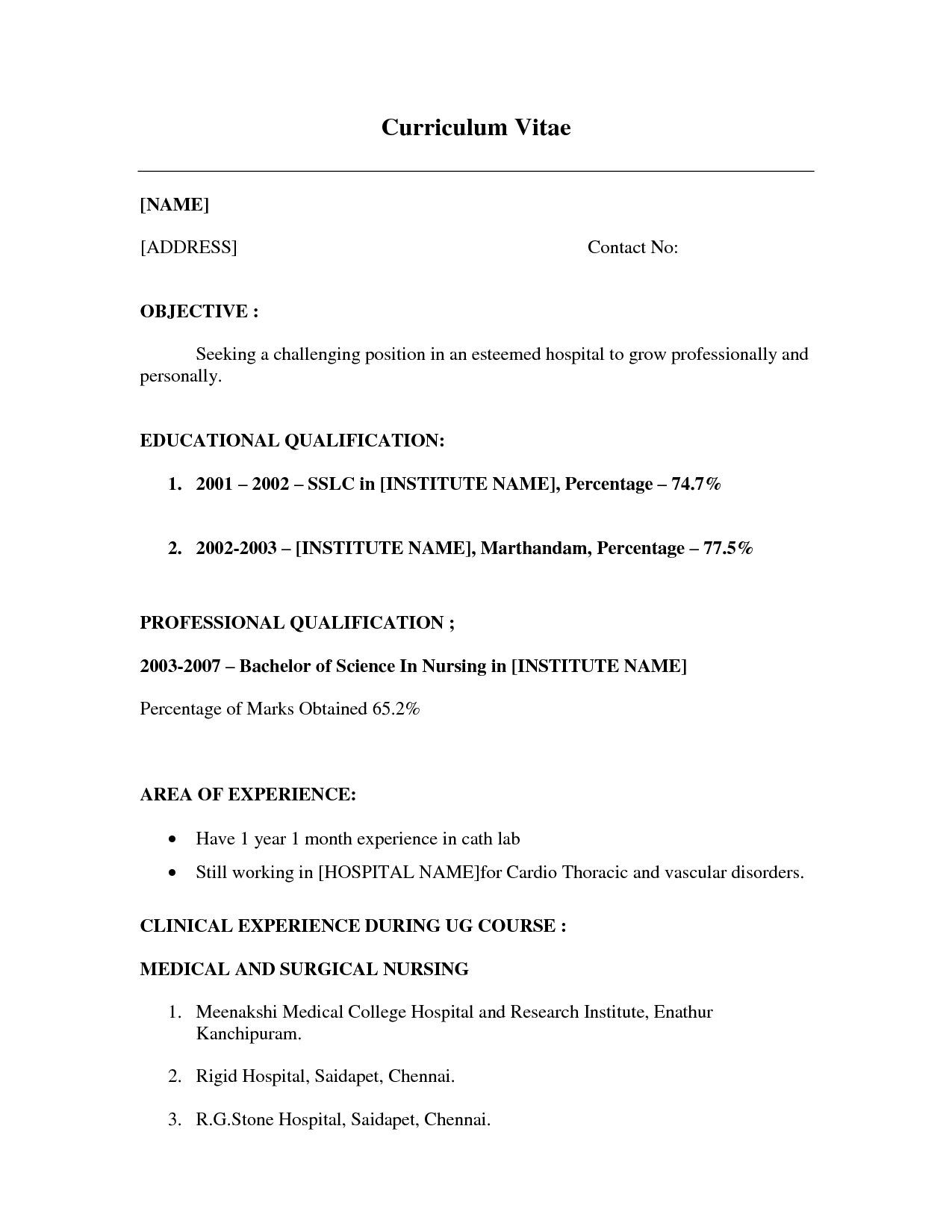 Work Experience Resume Format