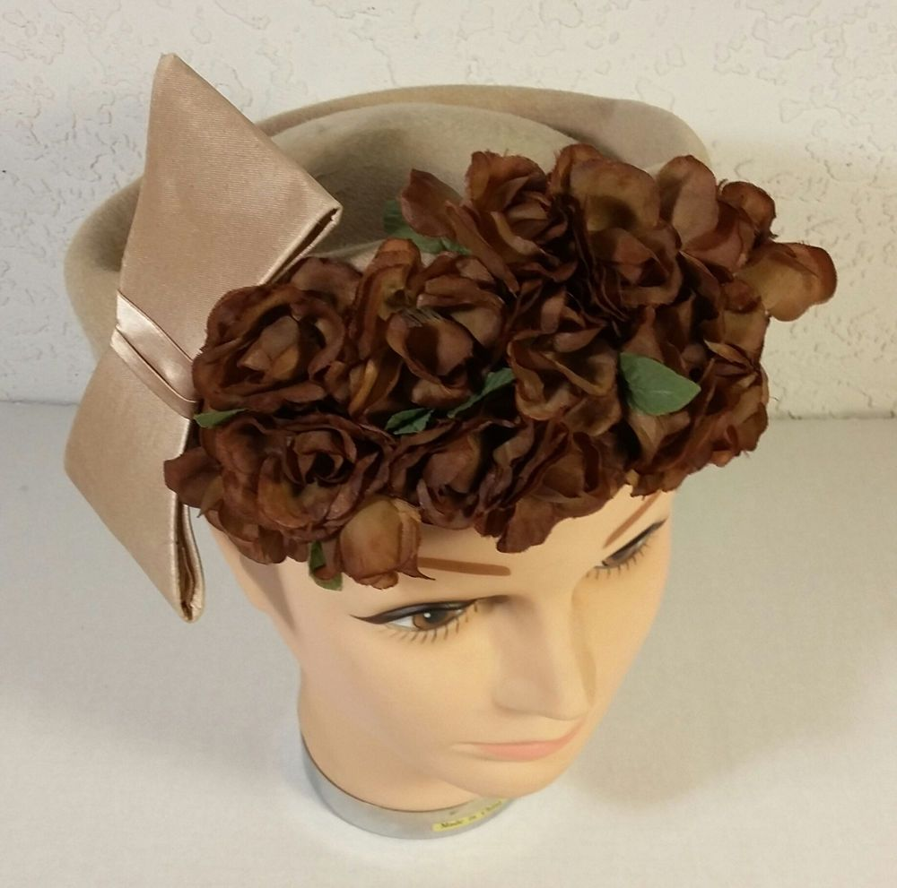 Vintage 1950s Glenover Henry Pollak Floral Tan Pillbox Ladies 100% Wool Hat #Pillbox