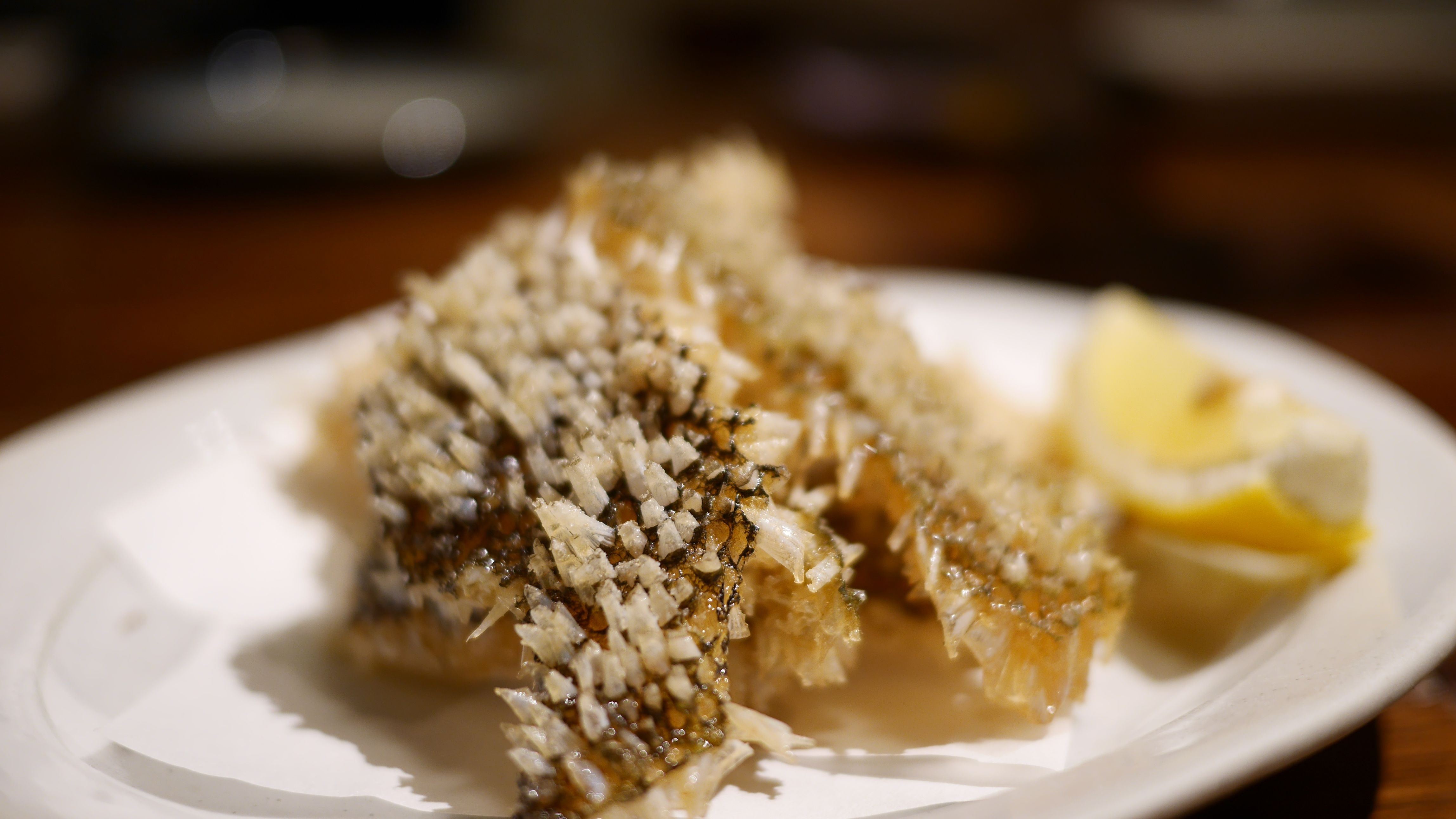 Deep fried fish skin with scales on | Japanese Dishes