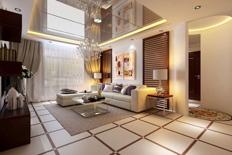 moderne-deckengestaltung hochglanz akzent fliesen gardinen couch - wohnzimmer ideen modern