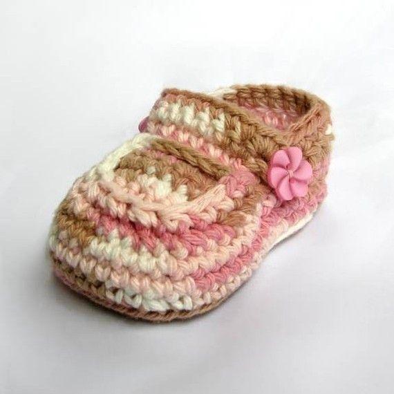 Patrón patucos bebé niñas zapatos Crochet patrones por ketzl ...