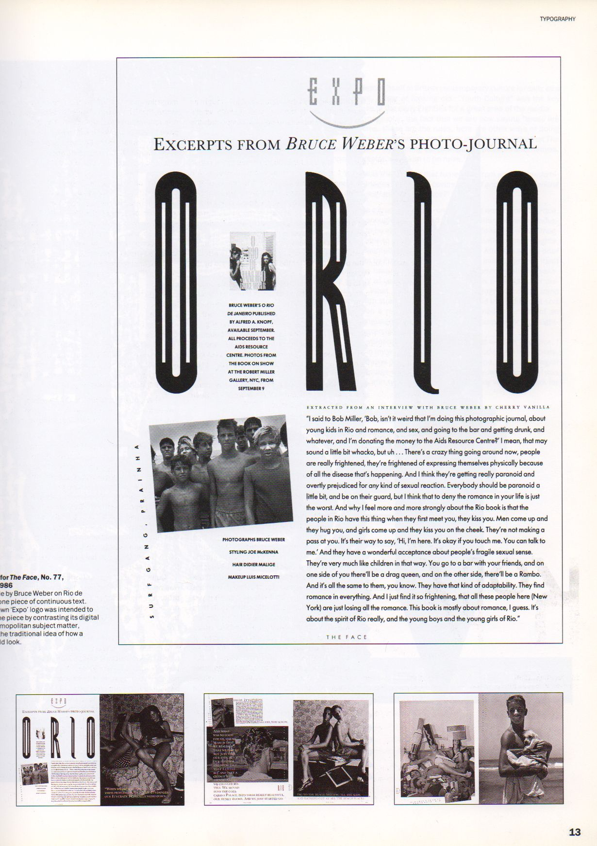 "'O RIO', internal page of ""Face"" Magazine, '80s - Typeface by Neville Brody."