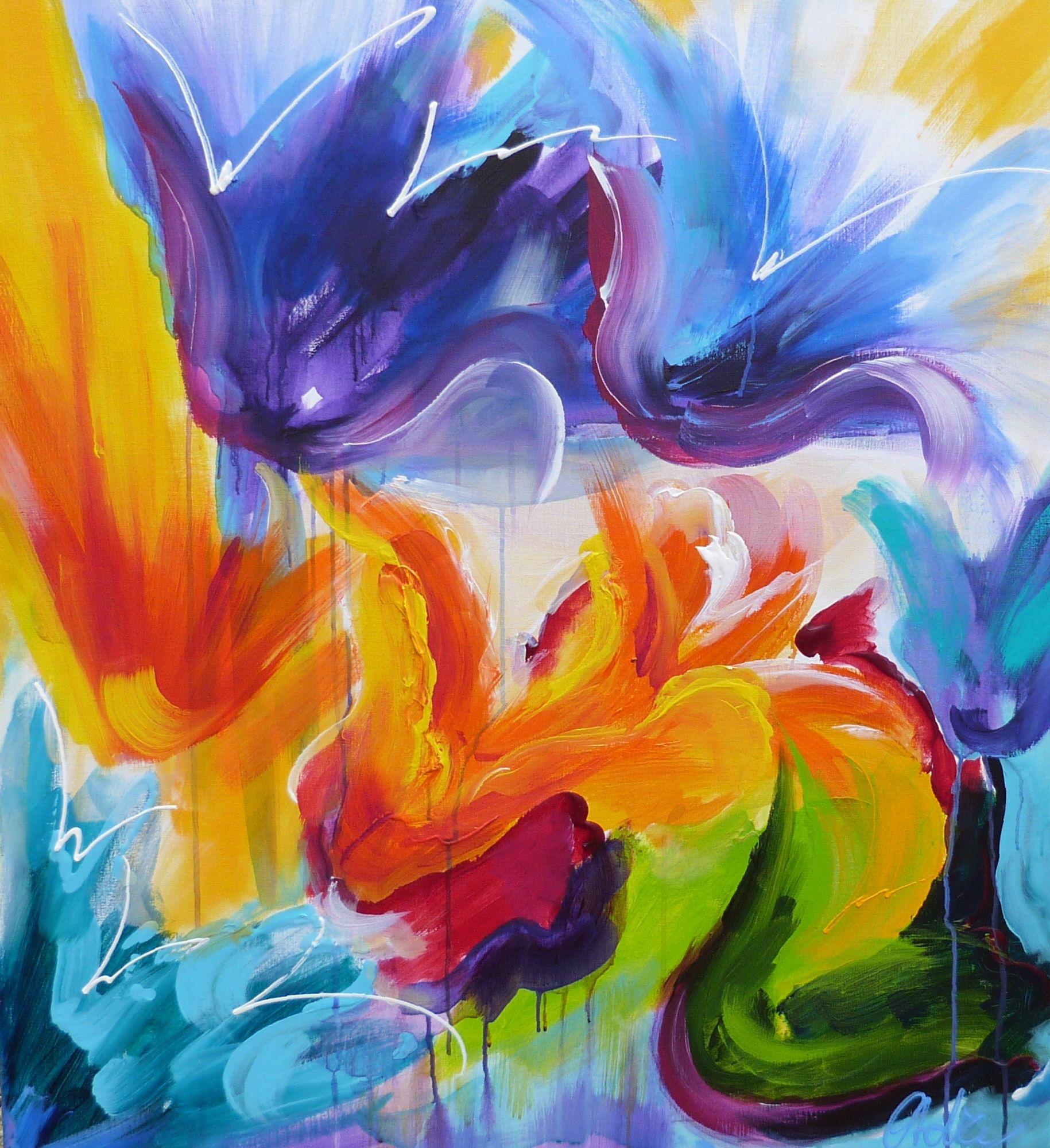 Adry's schilderij nr. 2014  met als titel: De tulpenwereld draait door  in het formaat: 90 x 100 cm.