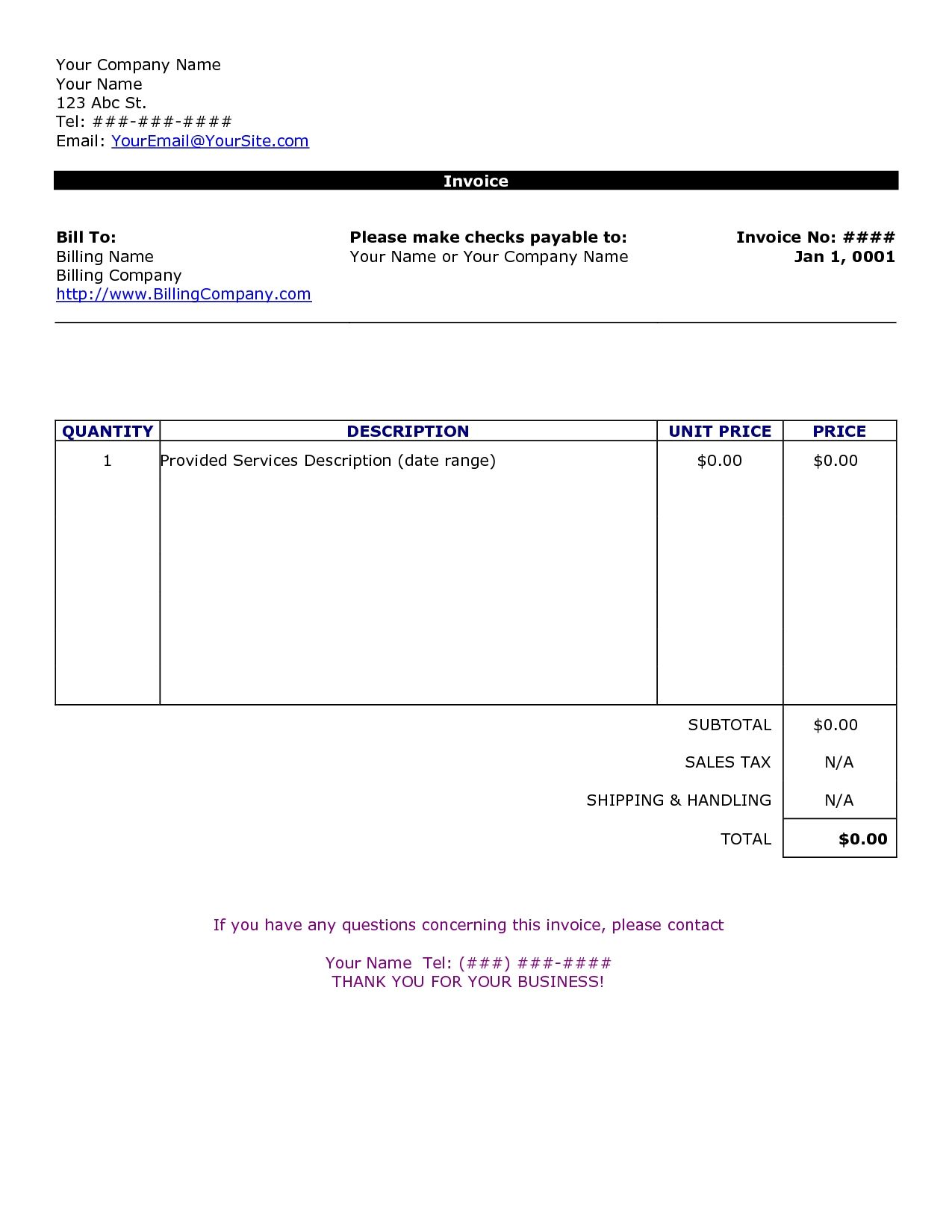Word Document Invoice Template Blank Invoice Doc Wwwmahtaweb