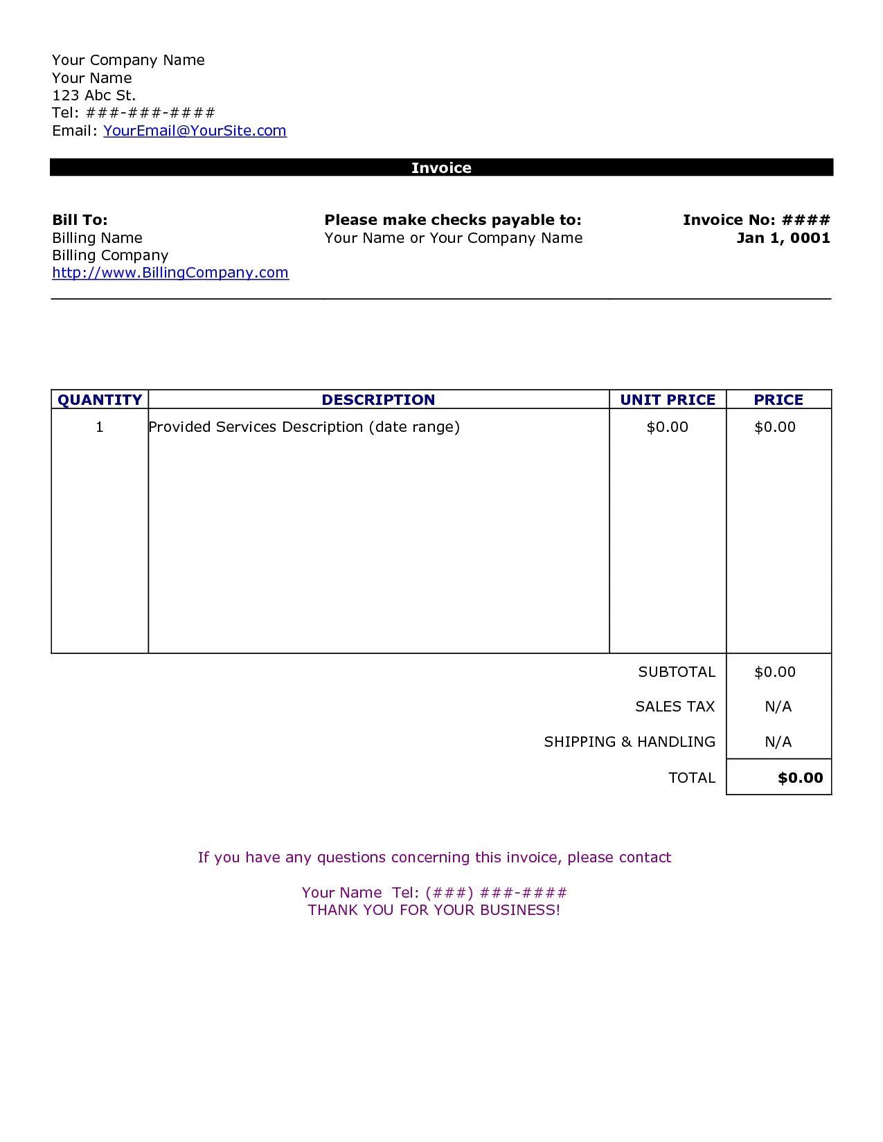 Custom Invoice Format Customizable Form Templates Customs