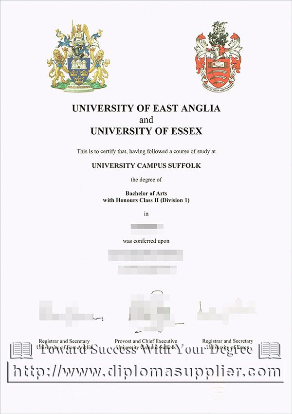University of East Anglia degree certificate, University of Essex ...