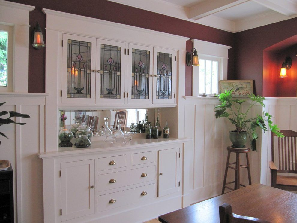 Built In Buffet Design Ideas Dining Room Craftsman With Leaded