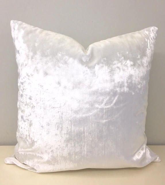 radiant off white velvet pillow cover
