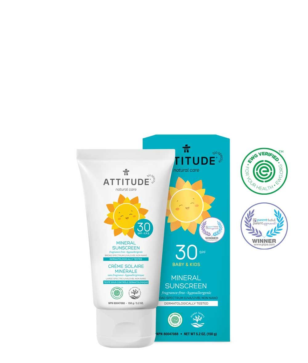 100 Mineral Sunscreen Spf 30 Fragrance Free 150g Attitude Mineral Sunscreen Fragrance Free Products Sunscreen