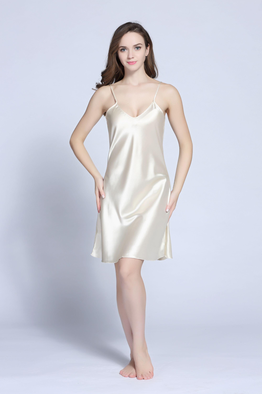 b1d5bd6002 Satin V-neck chemise nightgown satin sleepwear sexy Tony Candice ...
