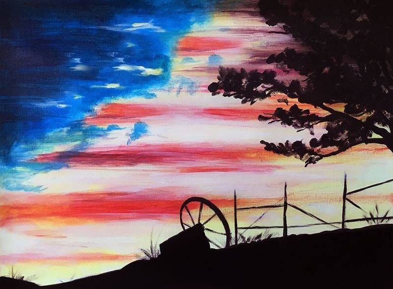 American Sky Flag Painting Art Canvas