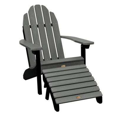 Elk Outdoors Essential Flint 2 Piece Recycled Plastic Outdoor Seating Set Outdoor Seating Set Adirondack Chair Adirondack Chairs Patio Plastic adirondack chairs with ottoman