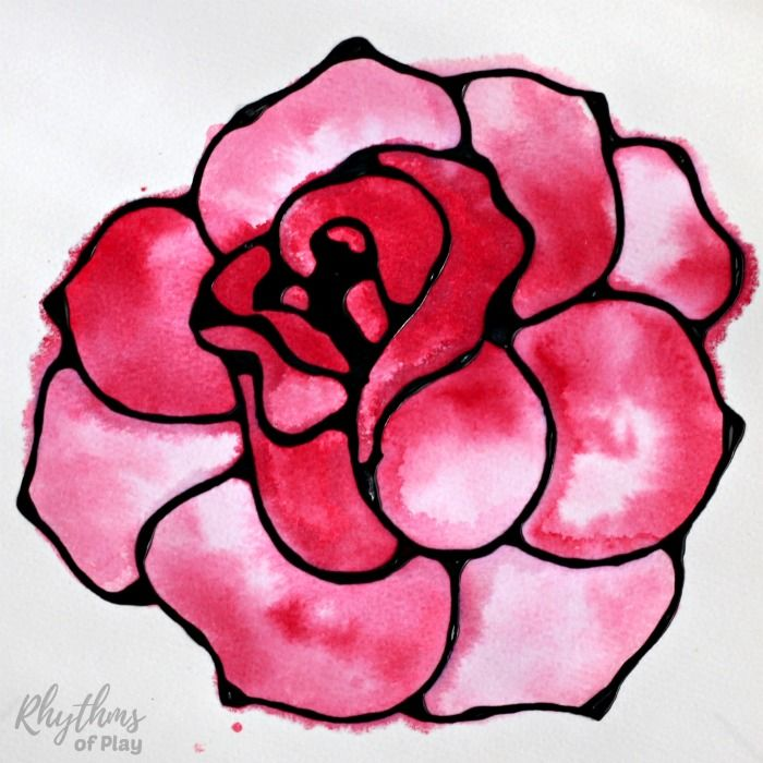 Black Glue Rose Watercolor Resist Art Project Painting Ideas