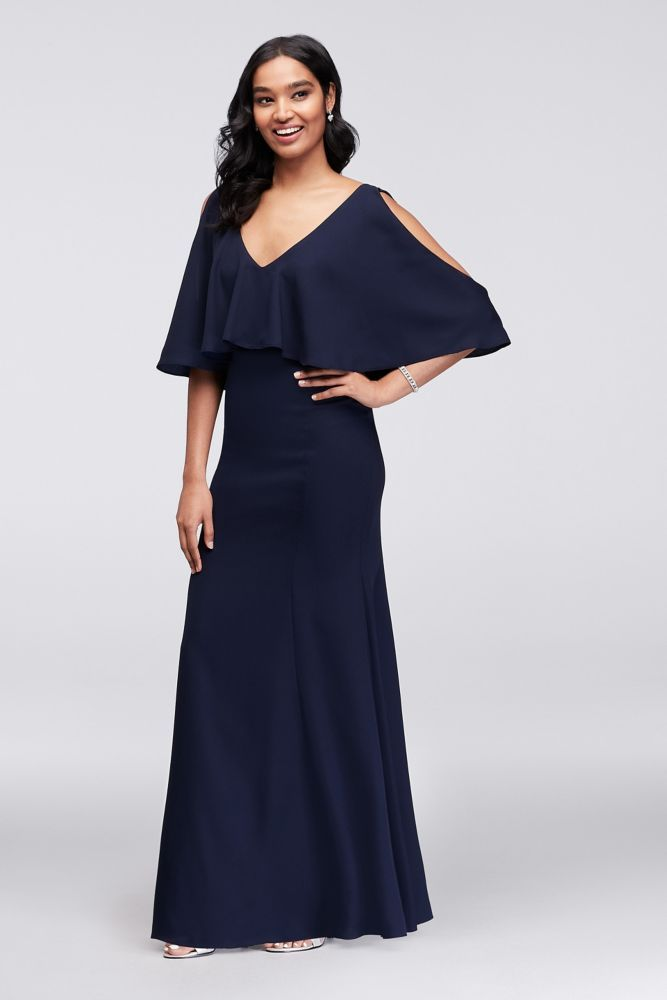 32039f57 Sleeveless Crepe Mermaid Gown with Flounce Style 264844, Navy, 6 ...