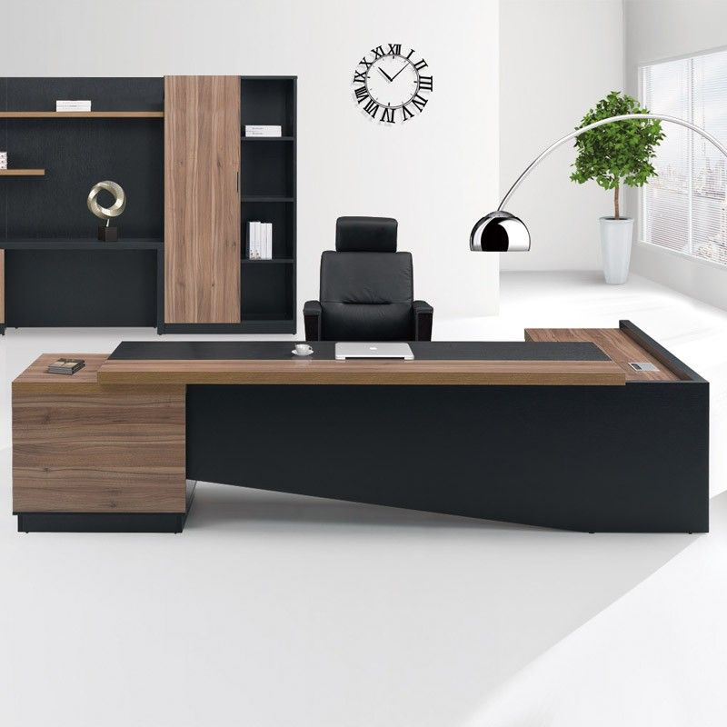 Fashion High End Office System Furniture L Shape Manager Executive Desk With Long Cabinet