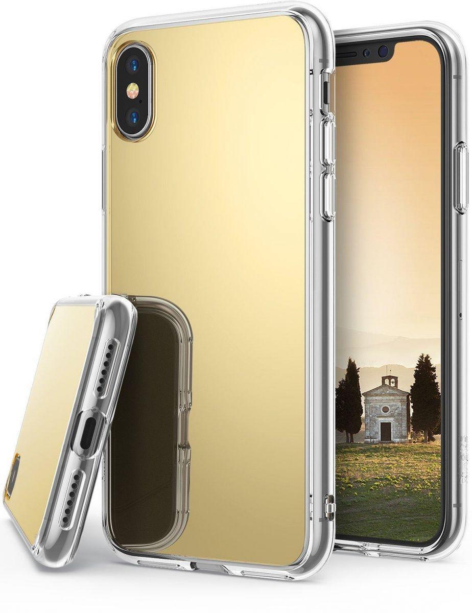 كفر ايفون اكس Iphone X رينجكي إطار مرن شفاف صلب مرايا من الخلف ذهبي السعودية سوق Iphone 10 Iphone Luxury Mirror