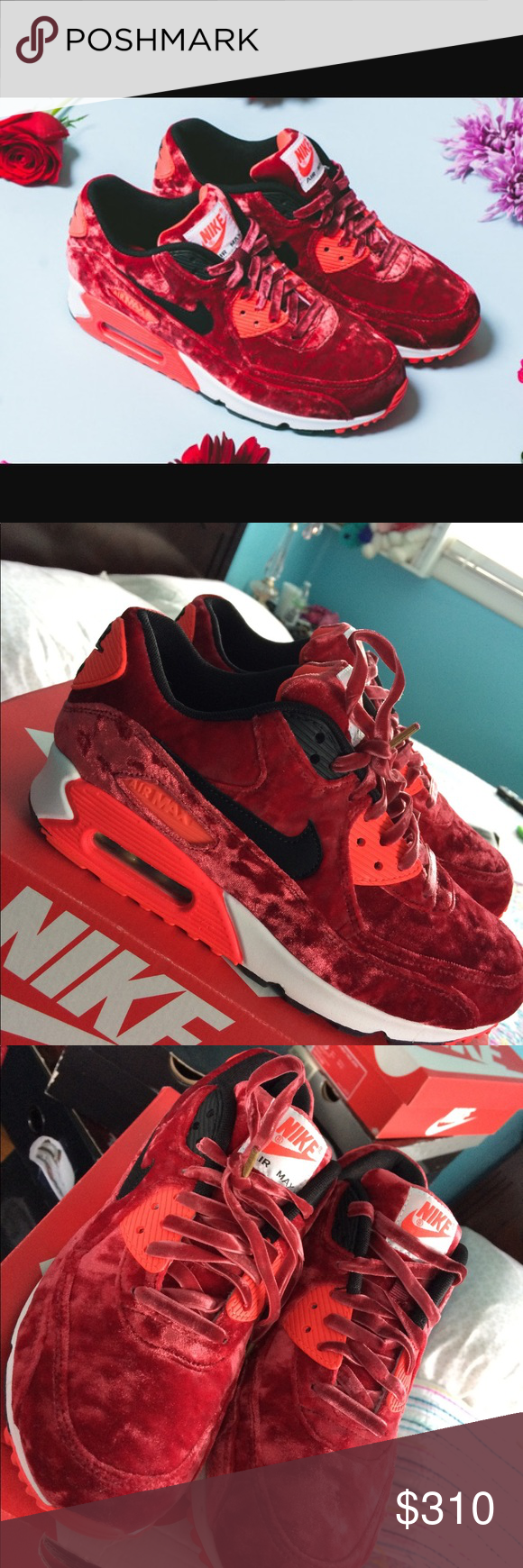 new concept bfcd9 04cbc Nike Air Max 90 Red Velvet 25th Anniversary NIKE WOMENS AIR MAX 90 - RED  VELVET GYM RED  BLACK - INFRARED - METALLIC GOLD SIZE 7.5 (BRAND NEW, ...