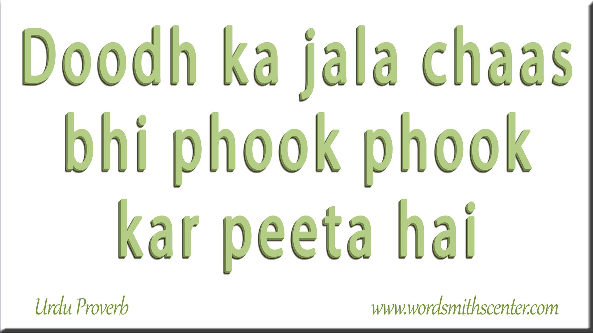 Doodh ka jala chaas bhi phook phook kar peeta hai
