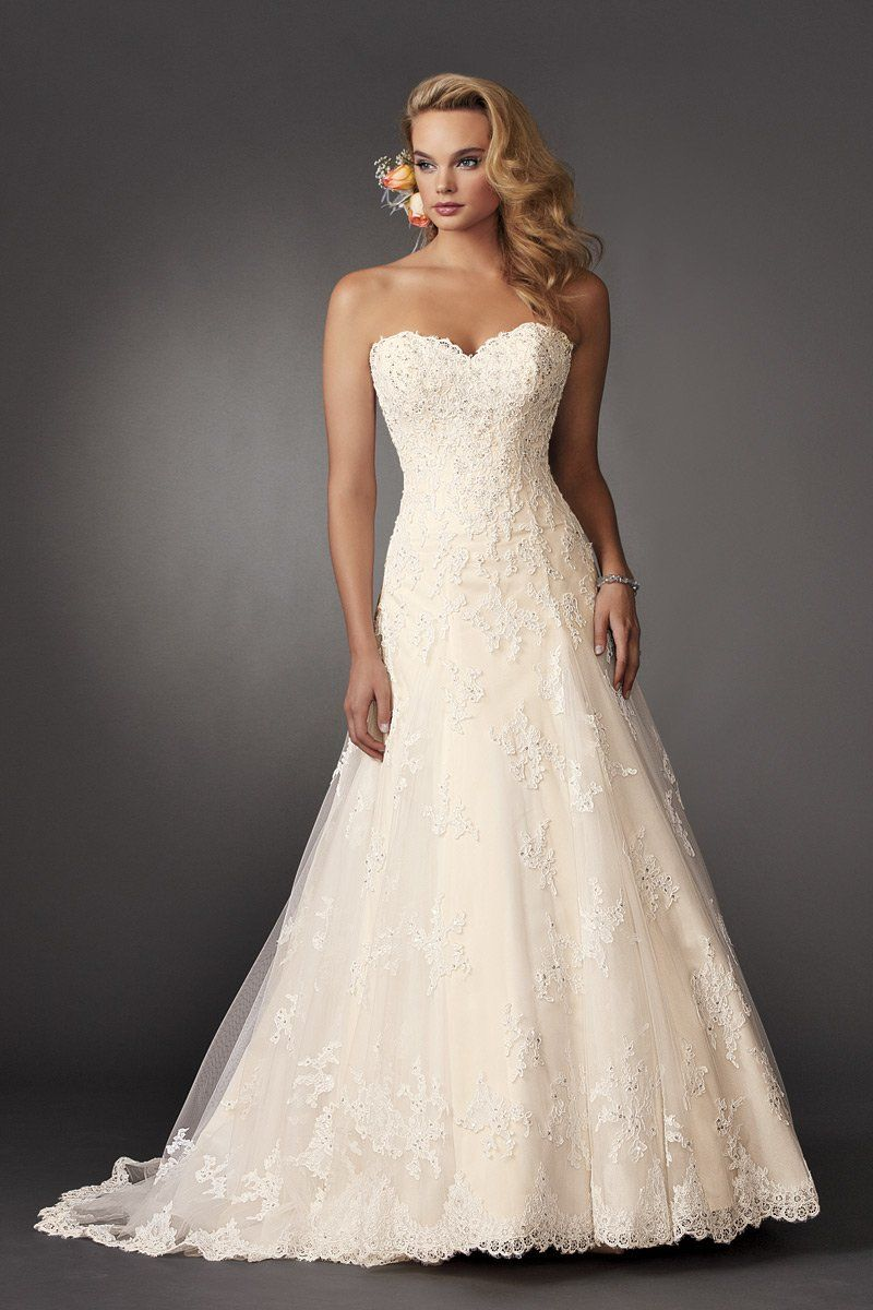 Shown in Diamond White/Bisque…Strapless fit and flare lace