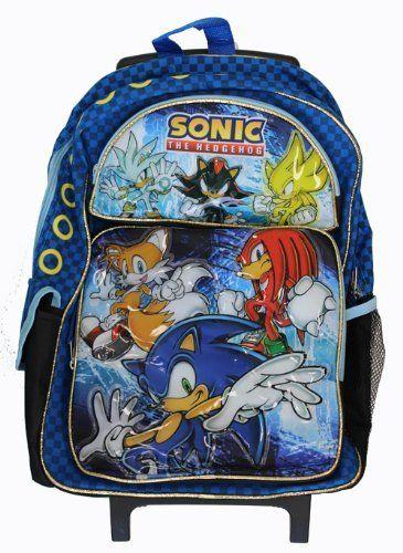 4849b70473da Sega Sonic The Hedgehog Large Rolling Roller Luggage Backpack Bag ...