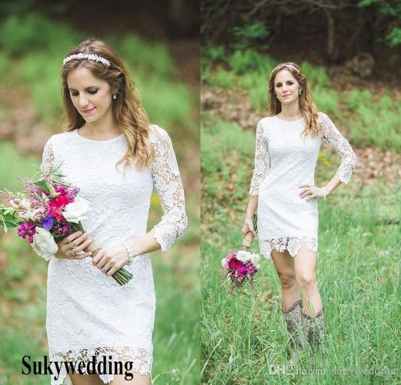 2019 Country Lace Wedding Dresses Sheath Short Garden Wedding Gowns With 3 4 Sleeves Summer Bridal Gowns Mermaid Lace Wedding Dress Country Sheer Wedding Dress,Simple Elegant Wedding Dresses 2020