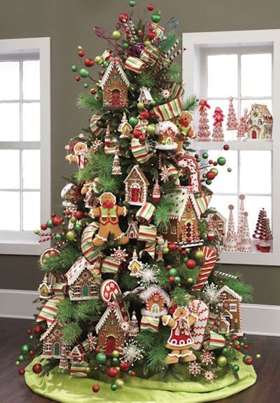 Candy Themed Christmas Tree Ideas Dot Com Women Christmas Tree Themes Gingerbread Christmas Tree Christmas Tree