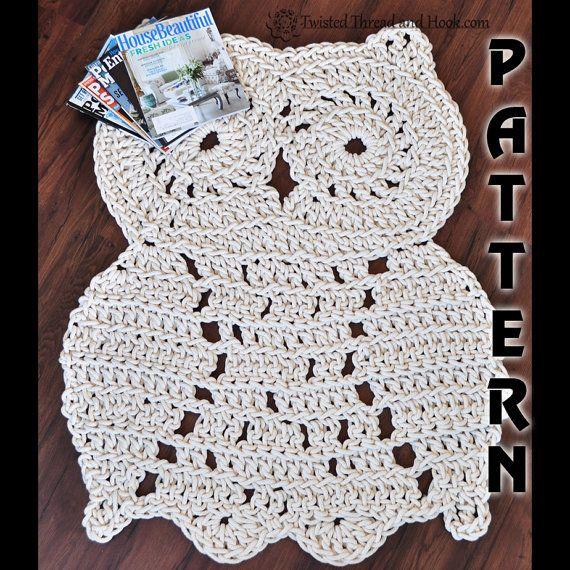 Rope Owl Rug Pattern - Crochet Pattern - Owl Decor | Muestras de ...