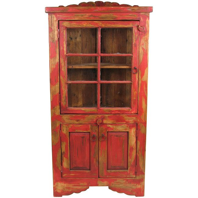 Painted Wood Furniture And Cabinets: Painted Wood Red Corner Cabinet