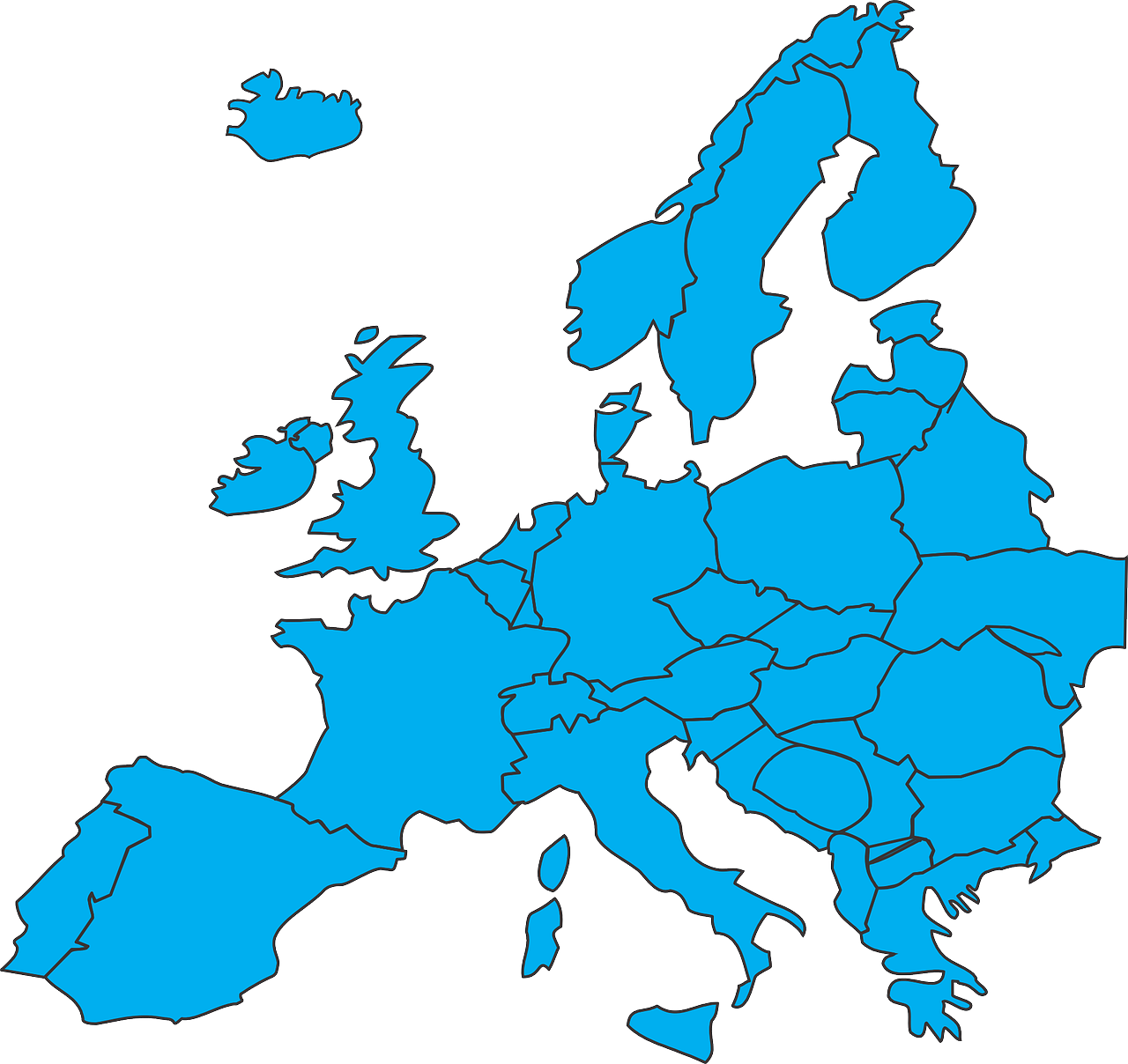 Europe countries map blue transparent image europe pinterest europe countries map blue transparent image gumiabroncs Image collections