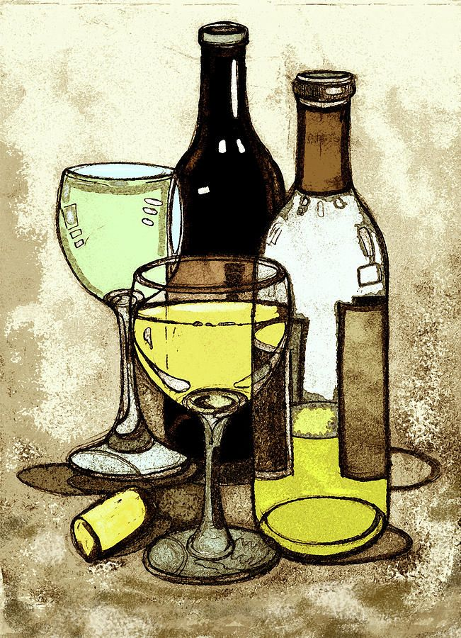 Abstract wine bottle and wine glass painting google for Painting of a wine bottle