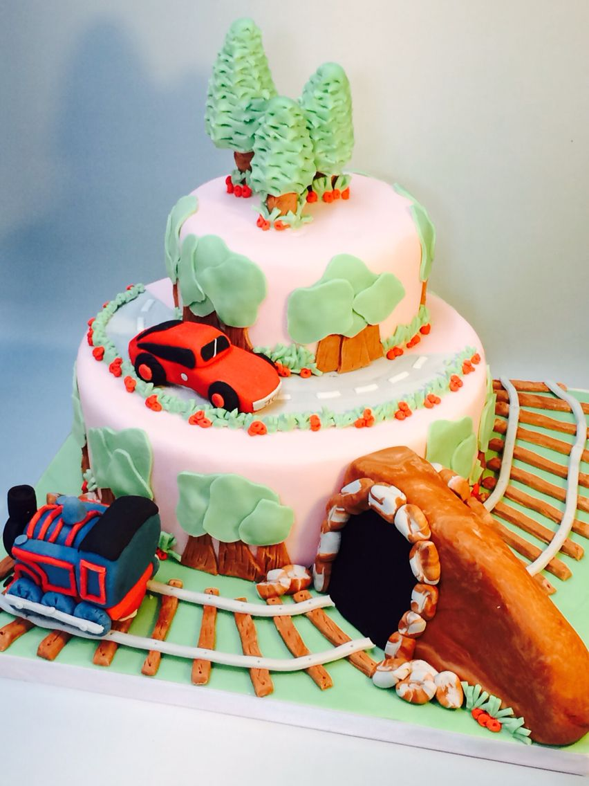 Cars and train birthday cake from www