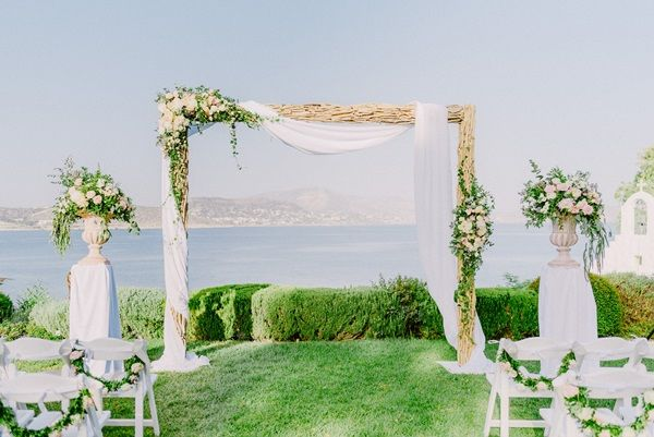 Wedding arch decorations   Romantic wedding decor   Summer wedding   Destination weddings   Greek Island wedding   Athens Riviera