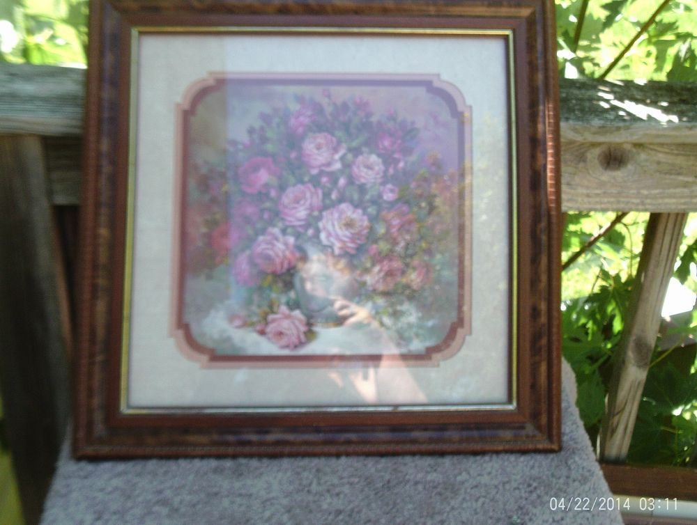 1990 homco home interiors framed matted roses roses roses - Home Interior Items
